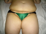 green satin with 2 golden hoops with black chiffron bottom