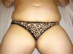 lycra leopard print thong with black lace